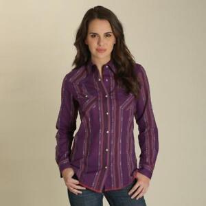 Wrangler-Women-039-s-Plum-Western-Printed-Snap-Up-Western-Shirt-LW8231M