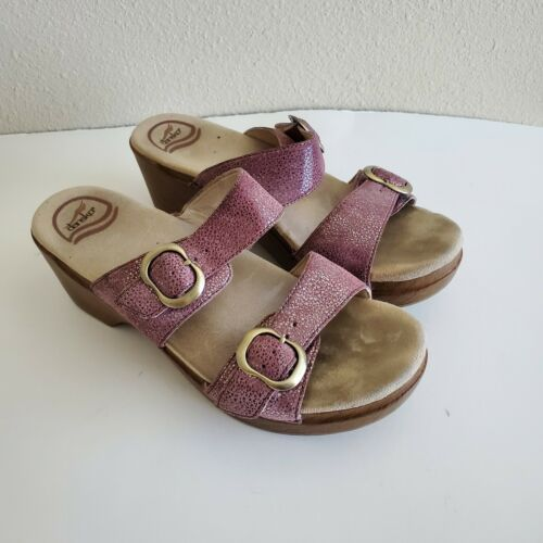 Dansko Sophie Metallic Python Print Sandal Size 38