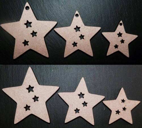 Corte láser estrellas de madera MDF Boda Navidad Adornos Artesanía Formas de 40,50,60 mm,