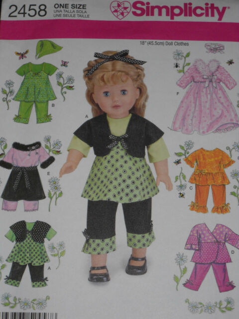 """18"""" Doll Clothes Dress Pants Shrug Top Skirt Simplicity 2458 Sewing Pattern NEW"""