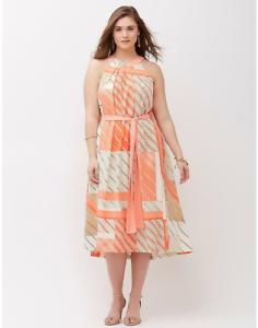 LANE BRYANT Sleeveless Plus Größe 14  1X Tie-Front Striped Belted Summer Dress