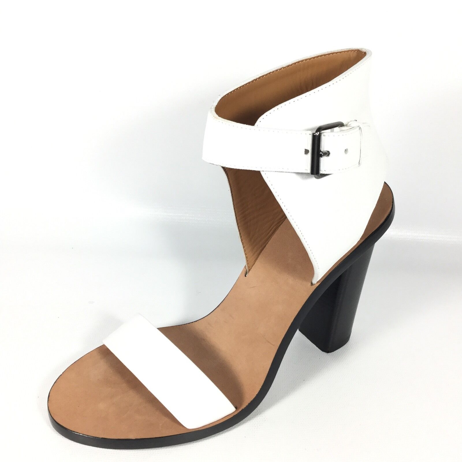 Vince Nicole Womens Size 7.5 M White Leather Ankle-Cuff Heel Sandals.
