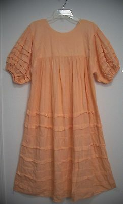 Vtg PEACH Cotton GAUZE Ruffle Puff Sleeves FESTIVAL Hippie boho Peasant Dress L