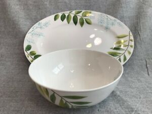 The-Cellar-Creamware-with-Leaf-Accents-Serving-Platter-and-Bowl-Set