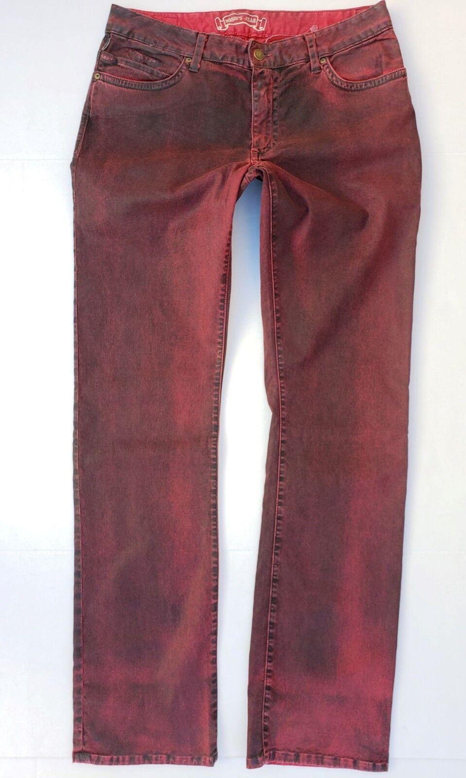 Neu Herren ROTKEHLCHEN Jeans Sz 32 Marlon Gerades Bein Beschichtete Jeans