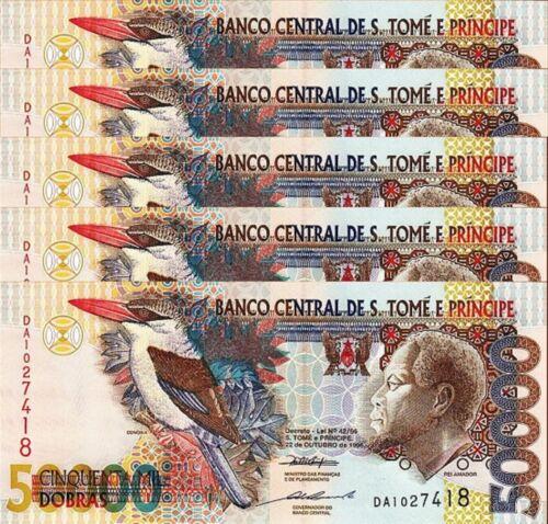 SAINT THOMAS /& PRINCE 50000 50,000 DBR 1996 UNC 5 PCS CONSECUTIVE LOT P 68A ST