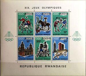 RWANDA-RUANDA-1968-Block-13-A-Olympics-Olympia-Mexico-Sport-Boxing-Soccer-MNH