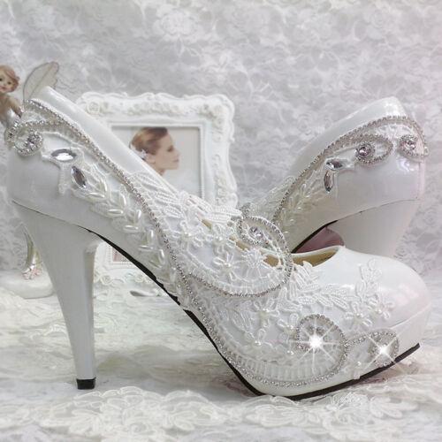 2019  heels white ivory lace Wedding shoes Bridal heels women hight pumps size