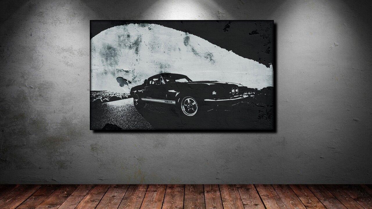 LEINWAND BILD BILDER XXL POP ART FORD MUSTANG GT CAR SPORT WAGEN AUTO BIS 150x90