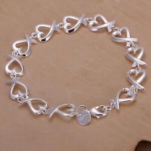 Neu-Armband-Armkette-Silber-Herz-Kette-Silver-Schmuck-Geschenk-Neu-H6Q4