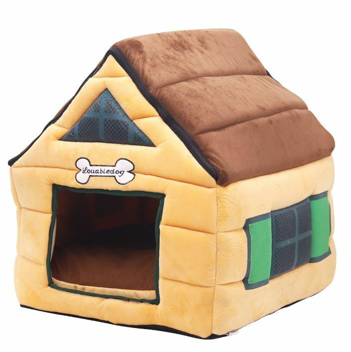 New Pet Dog Cat House Bed Tent Kennel Mat Removable Coushion Indoor House M,L