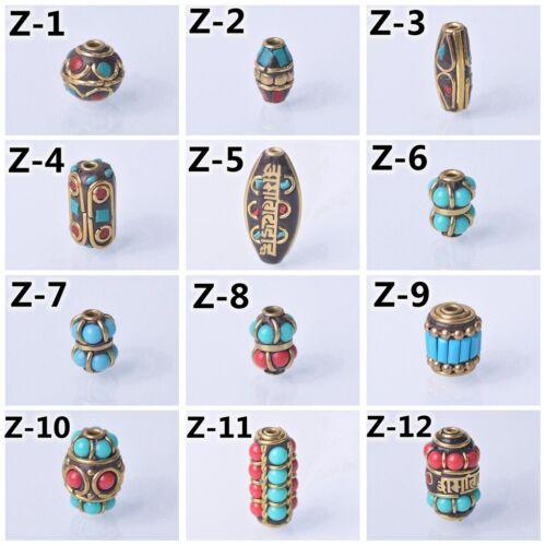 Tibetan Nepalese Turquoise Brass Metal Loose Spacer Handmade Beads DIY Jewelry