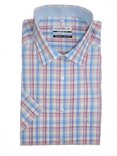 Camicia Marvelis Comfort Fit Manica Corta Blu//Rosa//Bianco a Quadri 7016.12.81