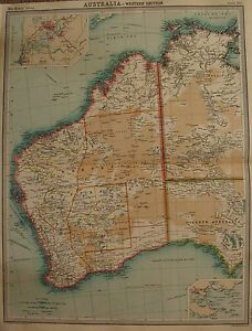 Large Map Of Australia.Details About 1920 Large Map Australia Western Section
