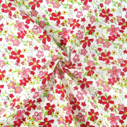 Polycotton Fabric Sketchy Watercolour Floral Flowers and Floating Petals