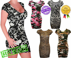 Womens-Cap-Sleeves-Printed-Bodycon-Mini-Dress-Ladies-Tunic-Bodycon-Dress-Top
