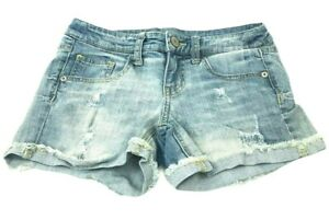 Mossimo-Women-039-s-Size-3-Booty-Jean-Shorts-Mid-Rise-Light-Wash-Denim