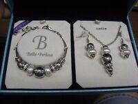Bella Perlina Charm & Crystal Bead Bracelet Earrings & Necklace Set Silver White