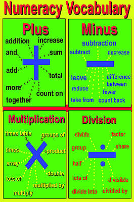 A2 laminated NUMERACY VOCABULARY add minus sub division multiplication poster