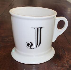 Anthropologie-Letter-J-Initial-Coffee-Mug-White-Black-Retro-Shaving-Cup-Monogram