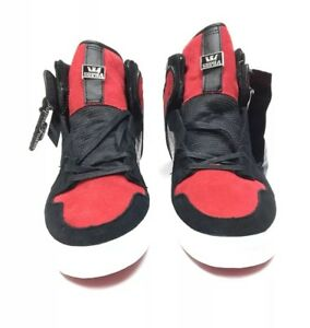 a737e10e99 Supra Footwear Black Red Suede Vaider High Top Shoes Mens 10 NIB ...