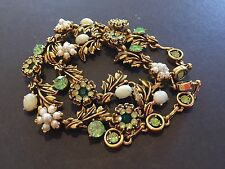 "Mint Signed Hollycraft Rhinestone, ""Pearl"" & Opal? Vintage Necklace!"