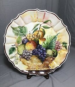 Vintage-Signed-Hand-Painted-Italy-Fruit-Basket-Plate-Serving-Wall-Dish-A-Stocco