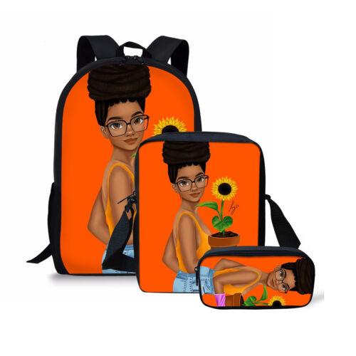 3pcs//set African Art Girls School Backpack Women Crossbody Pencil Bag Rucksack