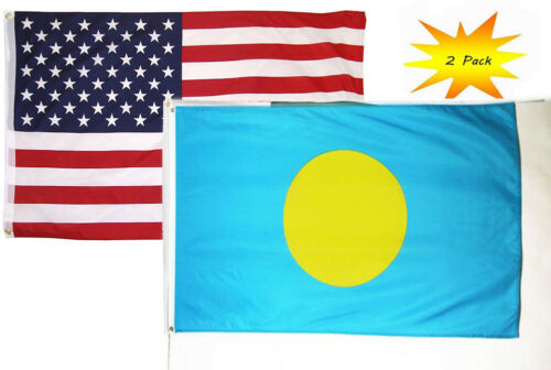 2x3 2/'x3' Wholesale Set 2 Pack USA American /& Palau Country Flag Banner