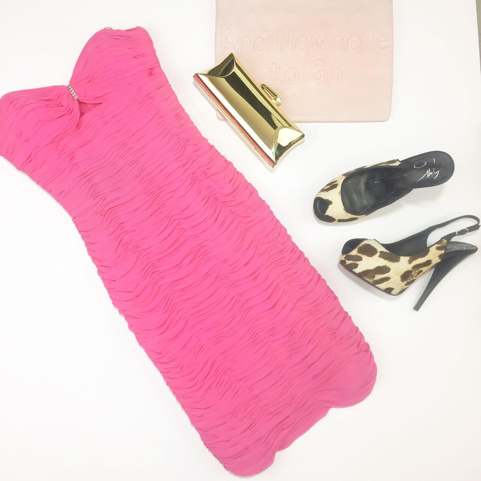 Vintage   Silk Bubblegum Pink Ruched Strapless Dress Rhinestone Cutout Bust 2 4
