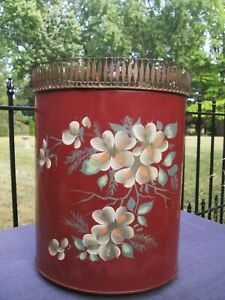 Vtg-Tole-TOLEWARE-Metal-Waste-Basket-Trash-Can-Painted-Apple-Blossoms-Burnt-Red