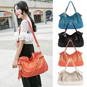 Ladies-Shoulderbag-Snakeskin-PU-Leather-Tassel-Chain-Handbag-Crossbody-Bag-Tote