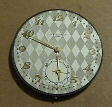 Benson slim pocket watch movement, diamond checked dial, 43mm, runs but stops.