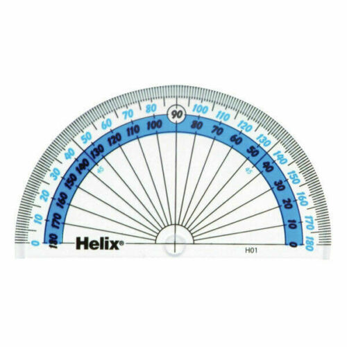 Clear Helix 180 Degree Protractor H02040 Reverse Scale 10cm