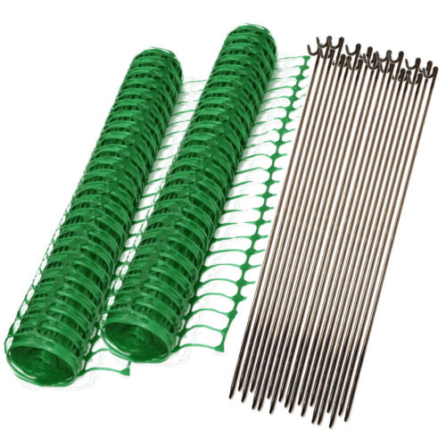 2 x 50m Roll Green Plastic Mesh Barrier Safety Fence /& 20 Steel 8mm Fencing Pins