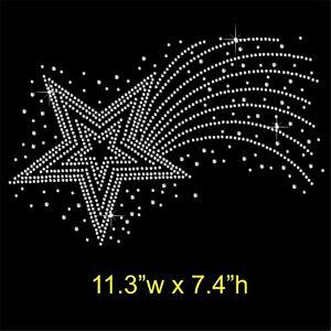 Shooting-Star-Rhinestone-Diamante-Hotfix-Iron-on-Transfer-Motif-Applique