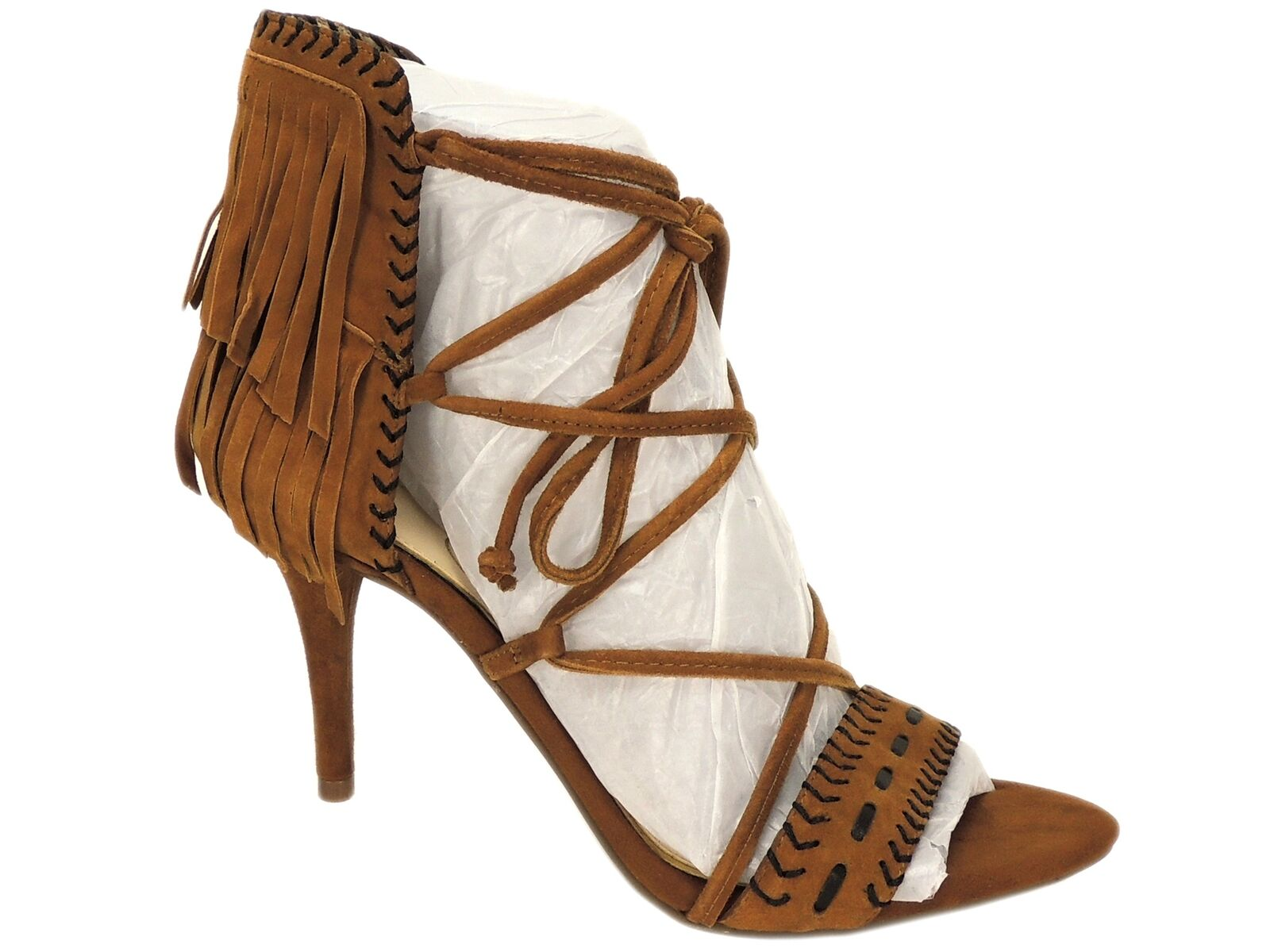 Jessica Simpson Women's Mareya Fringe Sandals Spiced Brown Lux Kid Suede Size 7M