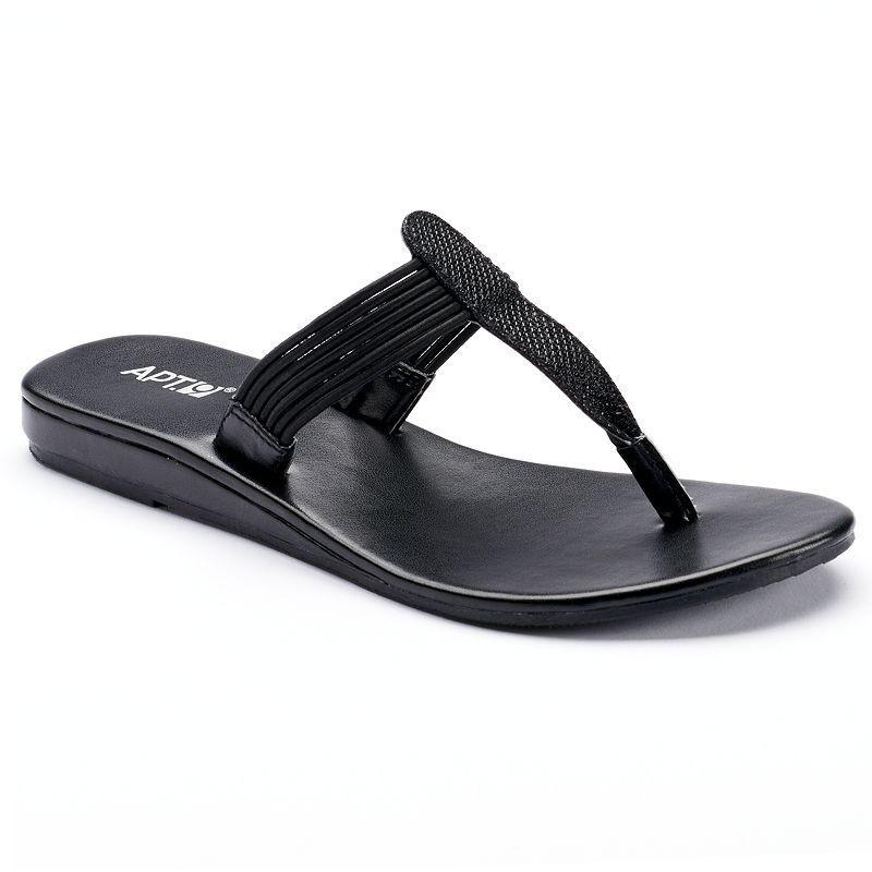 Apt. 9® Sandals Women's Glitter Thong Wedge Sandals 9® Color: BLACK, Size: LARGE c99dc2