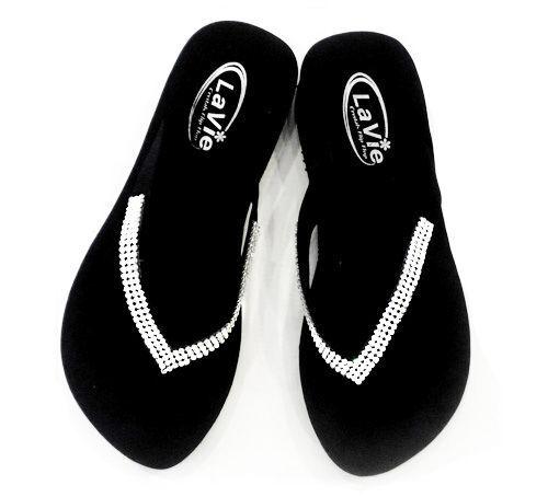 Bling Flip Flops Sandals /w Swarovski Crystals, Cute Sandals Flops (Med Heel) 02e476