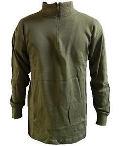 Norwegian-Norgi-Shirt-Green-Italian-Army-Issue-Roll-Top-Base-Layer-new