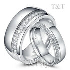 T&T Stainless Steel Comfort fit Wedding Comfort Band Ring With CZ For Couple
