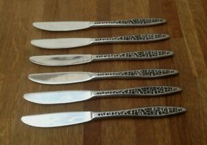 VINTAGE-CUTLERY-SET-OF-6-KNIVES-VINERS-MOSAIC-STAINLESS-SIZE-8-3-034-149