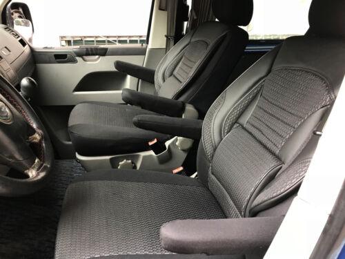 Sitzbezüge Schonbezüge VW T5 T6 California Coast Beach Einzelsitze schwarz-grau