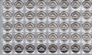 Canada-1964-Five-Cent-UNC-BU-MS-Nickel-Roll-of-40-Coins