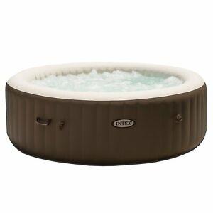 Intex PureSpa 85 Inch Bubble Jet Massage 6 Person Inflatable Round Hot Tub Spa