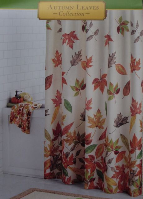 Autumn Leaves Harvest Cacading Fabric Shower Curtain 70x70 NIP
