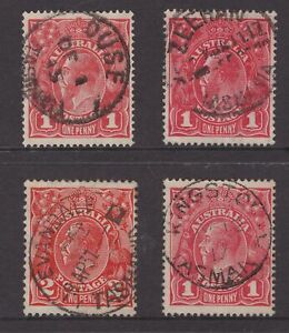 Tasmania-4-nice-postmarks-on-KGV-stamps