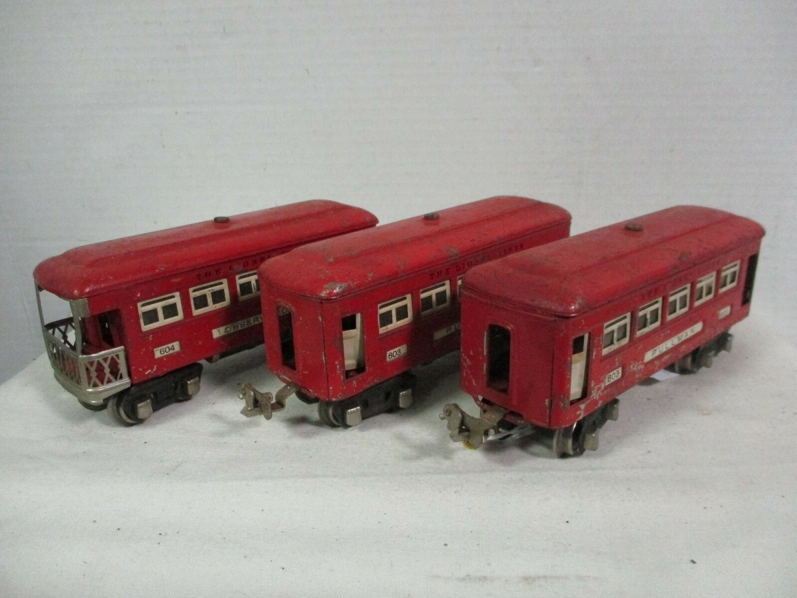 Lionel 603, 603, and 604 Red Comet Cars Vintage Model Railway Train Cars B3