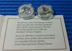 1994-Australia-10-Olympic-Heritage-999-Fine-Silver-Proof-Coin-2-pieces