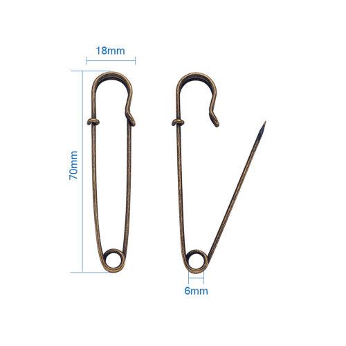 10pcs Iron Kilt Pins Antique Bronze Nickel Free 70mm Safety Pins for Crafts